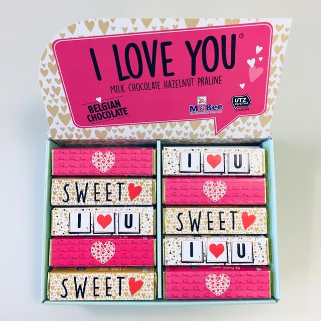 I love you® Melkchocolade repen met zachte hazelnootvulling