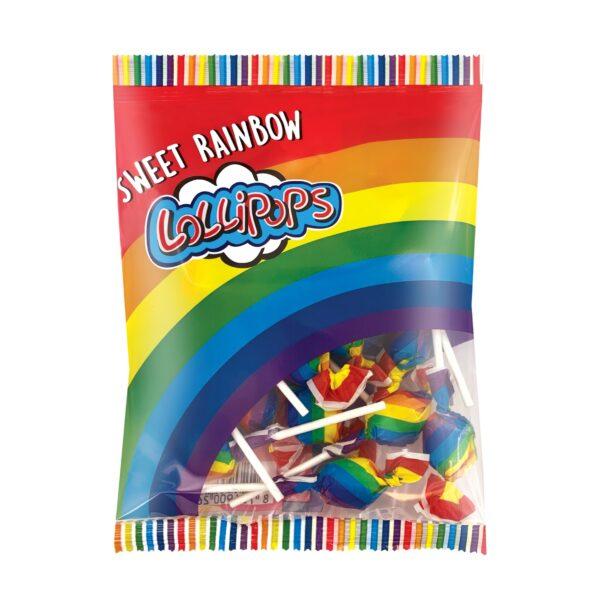 Sweet rainbow lollipops in bag